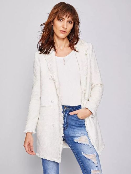 tweed white blazer